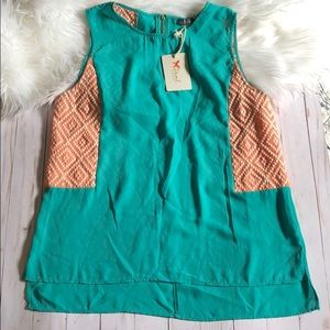 THML teal and peach blouse size M. NWT